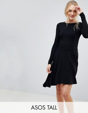 photo Mini Swing Dress with Asymmetric Hem by ASOS TALL, color Black - Image 1