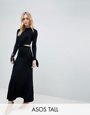 photo Maxi Dress with Long Sleeve and Cut Outs by ASOS DESIGN Tall, color Black - Image 1