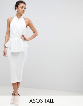 photo Scuba Halter Wrap Midi Dress by ASOS TALL PREMIUM, color White - Image 1