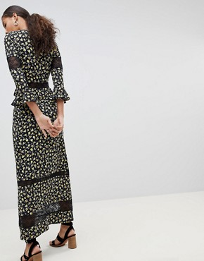 photo Maxi Tea Dress in Floral Print with Lace Inserts by ASOS DESIGN Tall, color Multi - Image 2