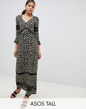 photo Maxi Tea Dress in Floral Print with Lace Inserts by ASOS DESIGN Tall, color Multi - Image 1