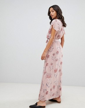photo Floral Wrap Maxi Dress by Vila, color Adobe Rose - Image 2