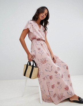 photo Floral Wrap Maxi Dress by Vila, color Adobe Rose - Image 4
