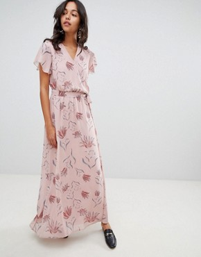 photo Floral Wrap Maxi Dress by Vila, color Adobe Rose - Image 1