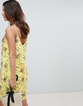 photo Printed Plisse Cami Dress by Vila, color Yellow Print - Image 2