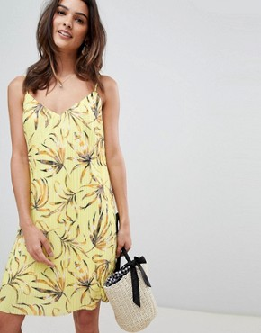 photo Printed Plisse Cami Dress by Vila, color Yellow Print - Image 1