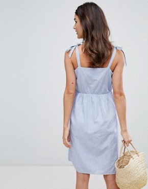 photo Stripe Dress with Tie Sleeves by Vila, color Light Blue Denim - Image 2