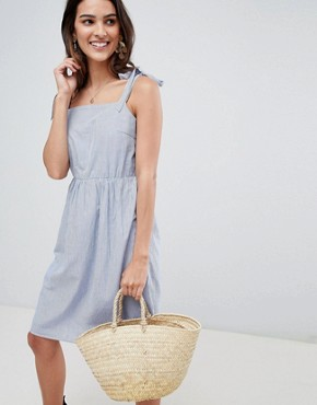 photo Stripe Dress with Tie Sleeves by Vila, color Light Blue Denim - Image 1