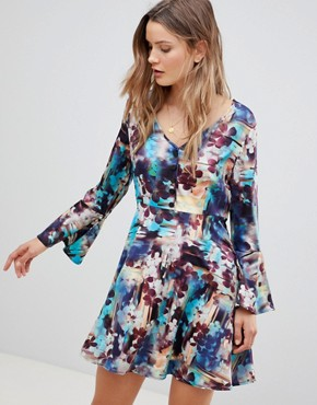 photo Abstract Floral Skater Dress with Fluted Sleeve by Lavand, color Multi - Image 1
