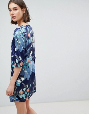 photo Floral Shift Dress by Lavand, color Dark Blue - Image 2