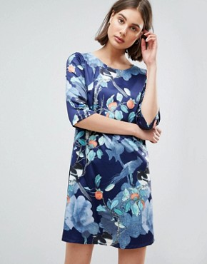 photo Floral Shift Dress by Lavand, color Dark Blue - Image 1