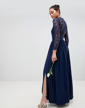 photo High Neck Crochet Lace Maxi Dress with Long Sleeves by Club L, color Navy - Image 2