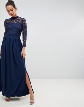 photo High Neck Crochet Lace Maxi Dress with Long Sleeves by Club L, color Navy - Image 1