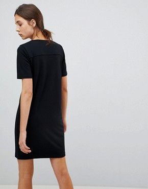 photo Button Front T-Shirt Dress in Ponte by ASOS, color Black - Image 2