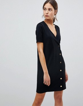 photo Button Front T-Shirt Dress in Ponte by ASOS, color Black - Image 1