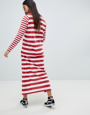 photo t-shirt Maxi Dress in Cut About Stripe by ASOS DESIGN Ultimate, color Dark Red/White - Image 2