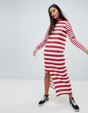 photo t-shirt Maxi Dress in Cut About Stripe by ASOS DESIGN Ultimate, color Dark Red/White - Image 1