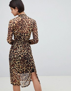 photo Leopard Printed Mesh Midi Dress with Shirring Details by ASOS DESIGN, color Leopard Print - Image 2