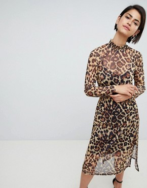photo Leopard Printed Mesh Midi Dress with Shirring Details by ASOS DESIGN, color Leopard Print - Image 1