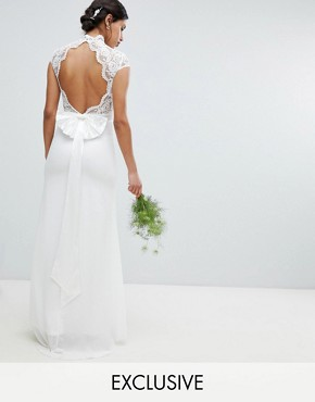 photo Bridal Maxi Bridal Dress with Scalloped Lace and Open Back by TFNC, color Ivory - Image 1
