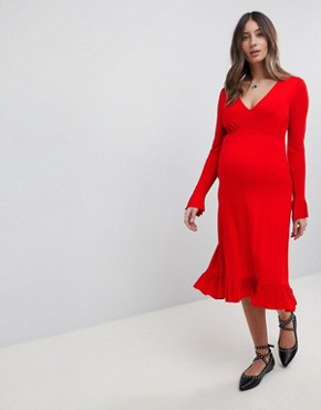 photo Midi Tea Dress with Frill Cuff by ASOS Maternity, color Red - Image 1