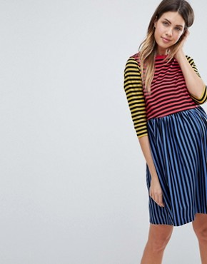 photo Cut About Stripe Mini Smock Dress by ASOS Maternity, color Multi - Image 1