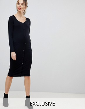 photo Maternity Midi Long Sleeve Bodycon Dress with Popper Front by ASOS DESIGN, color Black - Image 1