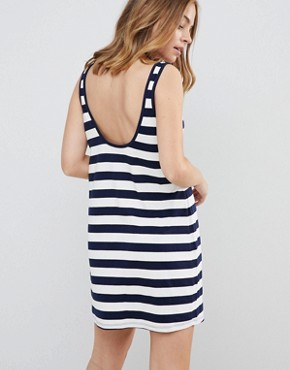 photo Ultimate Mini Vest Dress in Stripe by ASOS DESIGN Petite, color Navy/White - Image 2