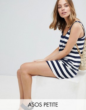 photo Ultimate Mini Vest Dress in Stripe by ASOS DESIGN Petite, color Navy/White - Image 1