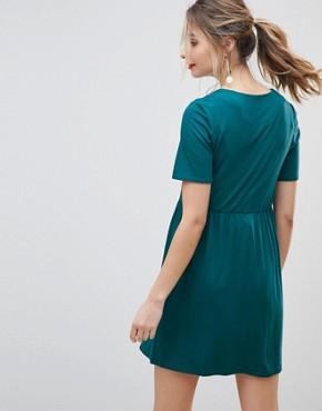 photo Maternity Nursing Smock Dress with Zip Through Detail by ASOS DESIGN, color Teal - Image 2