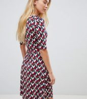 photo Printed Midi Dress with 3/4 Sleeve by Gilli, color Red - Image 2