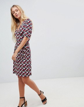 photo Printed Midi Dress with 3/4 Sleeve by Gilli, color Red - Image 4