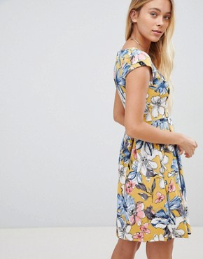 photo Floral Skater Dress by Gilli, color Mustard - Image 2