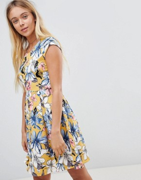 photo Floral Skater Dress by Gilli, color Mustard - Image 1