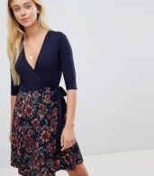 photo 2-in-1 Floral Skater Dress with 3/4 Sleeves by Gilli, color Dark Navy - Image 1
