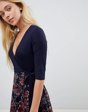 photo 2-in-1 Floral Skater Dress with 3/4 Sleeves by Gilli, color Dark Navy - Image 3