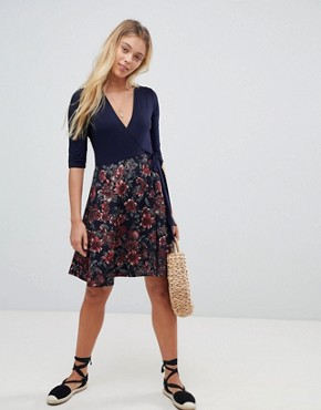 photo 2-in-1 Floral Skater Dress with 3/4 Sleeves by Gilli, color Dark Navy - Image 4