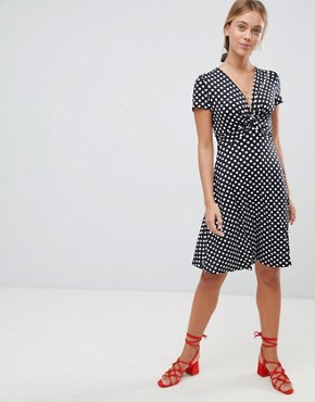 photo Polka Dot Skater Dress by Gilli, color Black - Image 1