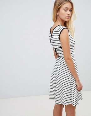 photo Stripe Skater Dress with Cut Out Back by Gilli, color Ivory - Image 2