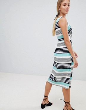 photo Stripe Midi Skater Dress by Gilli, color Mint - Image 2