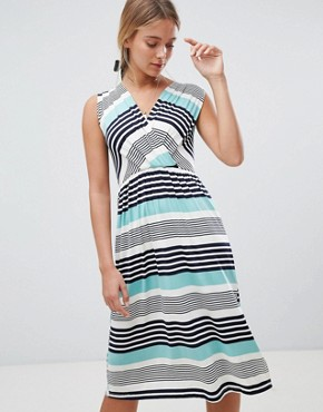 photo Stripe Midi Skater Dress by Gilli, color Mint - Image 1