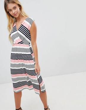 photo Stripe Midi Skater Dress by Gilli, color Pink - Image 1