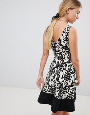 photo Printed Skater Dress with Contrast Border by Gilli, color Black - Image 2
