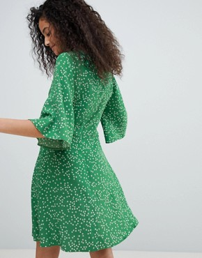 photo Tea Dress in Antique Floral by Nobody's Child, color Green - Image 2
