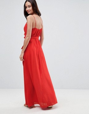 photo Wrap Maxi Dress by ASOS, color Red - Image 2