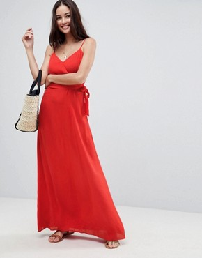photo Wrap Maxi Dress by ASOS, color Red - Image 1
