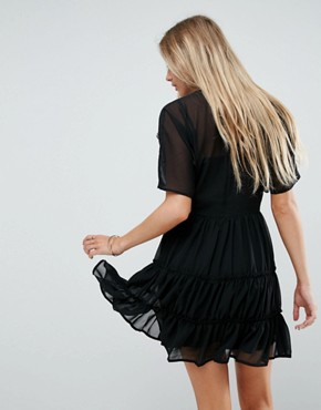 photo Soft Mini Dress with Tiers by ASOS, color Black - Image 2