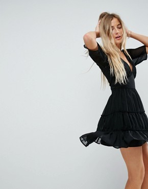photo Soft Mini Dress with Tiers by ASOS, color Black - Image 1