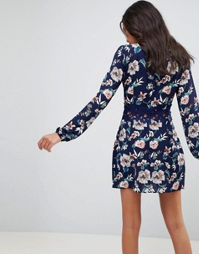 photo Floral Shift Dress with Crochet by AX Paris, color Navy - Image 2