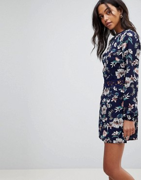 photo Floral Shift Dress with Crochet by AX Paris, color Navy - Image 1